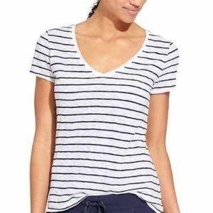 Athleta Striped Breezy Scoop V Neck T-Shirt